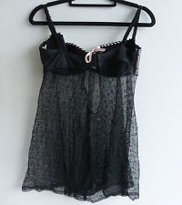 Agent Provocateur Black & Pink Lace Slip 34D New Folies by Renaud NWOT no Tag
