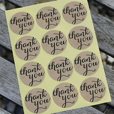 "120X ""Thank You"" Round Packaging Seals Kraft Sealing Sticker Label Papers 3.5cm"