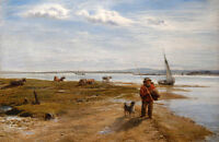 Nice Oil painting Beside the shore, Isle of Wight woman fisher with dog and cows