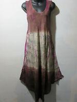 Dress Fits XL 1X 2X 3X Plus Tunic Brown Pink Tie Dye Sundress A Shaped NWT 5801