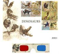Hojita Bloque sellos South Africa 2009 Dinosaurios 3D + gafas 3D stamps