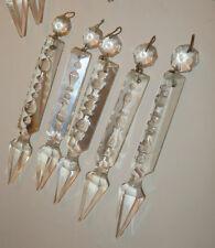 3 antique vintage spear Crystal Gothic Prism Chandelier sconce lamp Part Luster
