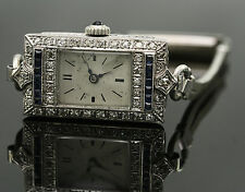 ANTIQUE SAPPHIRE AND DIAMOND PLATINUM WATCH