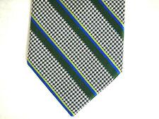 "Ben Sherman Mens Necktie Tie Black White Green Houndstooth Striped Skinny 59"""