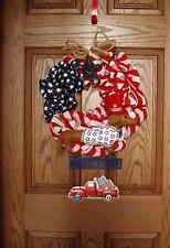 "Dachshund Patriotic Felt Sculpture 16"" Burlap Flag Truck 4th of July USA Wreath"