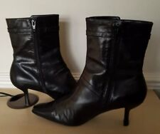 Nine West Ladies Black Leather High Ankle Boots US 7.5W UK 5.5 EU 38.5