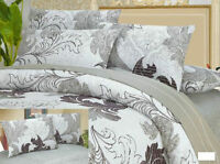 DaDa Bedding Soft Elegant Leaves Floral Cotton Duvet Cover & Pillow Shams Set