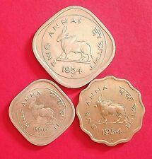 INDIA BULL SERIES 1/2,1&2 ANNA 1950 & 1954 MUMBAI  MINT UNC GRADE RARE COIN SET