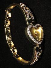 UNIQUE DANBURY MINT DIAMOND FIRE GOLD OVER STERLING SILVER HEARTS DIAMOND WATCH