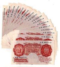 K O Peppiatt Pre-War Ten Shillings 10/- Banknote aUnc From Consecutive Run B236