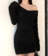 Women Black Knitting Faux Fur Dress Sweater Scoop Neck Sexy Wrap Fashion Sz