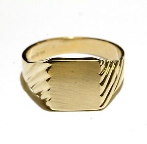14k yellow gold mens signet ring 5.7g gents unique size 11.5
