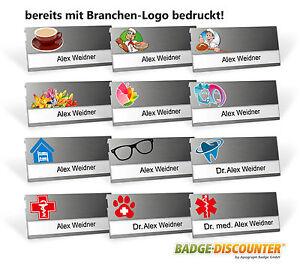 Namensschild aus Aluminium Metall Namenschild Branchen Logo Kleidung Magnet Clip