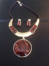 gold necklace and earring set with brown statement pendant handmade stunning
