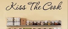 "KISS THE COOK Vinyl Wall Decal Sticker Sign Kitchen Life Saying Quote 7"" x 36"""