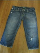Hollister Denim Blue Jean CROPPED Pant Capri TRASHED Distressed BUTTON FLY SZ 1