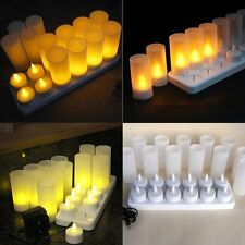 Set of 12 Rechargeable Amber Flickering Tea Lights Tealights Candles + Holders