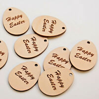 10 x Wooden Engraved Easter Eggs Personalised Happy Easter Gift Tags - 4cm