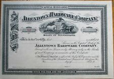 'Allentown Hardware Company' 1880 Stock Certificate, Unissued - Pennsylvania PA