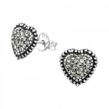 Sterling Silver 925 Grey Crystal Heart Stud Earrings