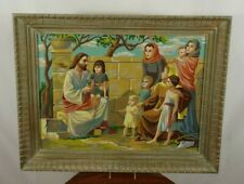 Vintage Mid Century Large Paint By Numbers Jesus Framed PBN 23 x 29