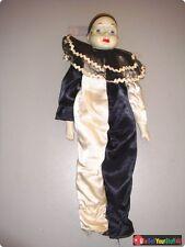 "Vintage Porcelain Pierrot Clown Doll w/ Silk Outift • 16½"" Tall"