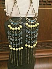 Earrings Dangle Brass Aqua Statement Stranded Boho Hippie Ethnic Chandelier Deco