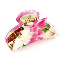 Plastic Florals Pattern Spring Loaded Hair Claw Clip Beige Fuchsia H7E4