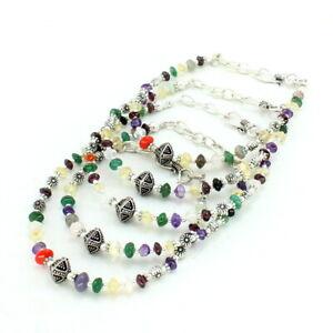 Bracelets natural citrine amethyst carnelian multi gemstone beaded jewellery 42g