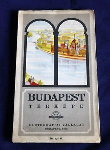Vintage Map 1958 - Plan of BUDAPEST - HUNGARY - Large size - FREE-SHIPPING .