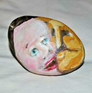 Original Stone Art by Leean Two Face Sun and  Moon * Rock Art Painting *   6-B