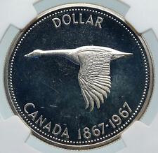 1967 CANADA CANADIAN Confederation Founding Silver Dollar Coin GOOSE NGC i85804