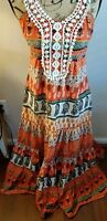 109 degree F dress boho women M peasant lace ORANGE MULTI COLOR PATTERN TIERED