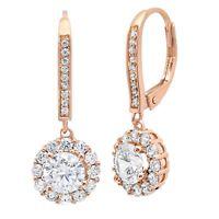 3.65ct Round Cut Halo Leverback Drop Dangle Designer Earrings 14k Rose Gold