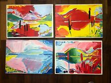 LOT PETER MAX Hand-painted acrylic painting on old wood signed & stamped VTG ART