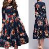 Women Floral Retro Midi Dress Long Sleeve Evening Cocktail Party Formal Gown