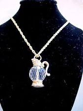 Swarovski Swan Signed Crystal Tea Pot Pendant Charm Necklace Swan Logo Mint 456