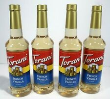 4 Plastic Bottles Torani French Vanilla Syrup 25.4 Ounces Each Bottle Unopened