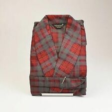 S 1960s Mens Nos All Cotton Flannel Red Gray Plaid Robe Smoking Loungewear 60s