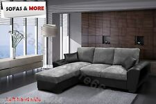 NEW GIANNI CORNER SOFA BED GREY OR BROWN JUMBO CORD FABRIC LEATHER WITH STORAGE