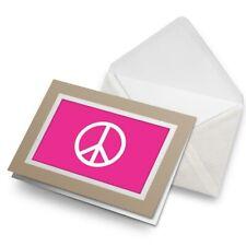 Greetings Card (Biege) - Pink Peace Symbol Camper Van Surf  #5610