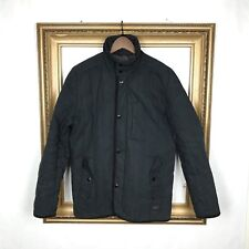 Ben Sherman M Jacket Coat Black Synthetic Puffer Quilted Snap Zip Mens Field