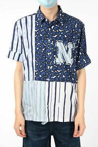 NEIL BARRETT men Shirts Size M Striped Short Sleeve Shirt Loose Fit Blue Blue...
