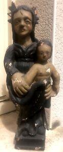 vierge a l enfant bois polychrome 40 cm