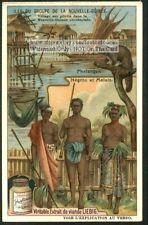 New Guinea Oceania Natives Village c1910 Trade Ad Card