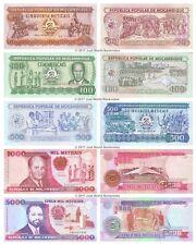 Mozambique 50 + 100 + 500 + 1000 + 5000 Meticais Set of 5 Banknotes 5 PCS UNC