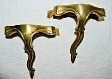 Set of 2 Vintage Brass Decorative Crafts Inc Wall Sconce Shelf Shelves Decor