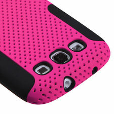 Samsung Galaxy S III 3 MESH Hybrid Silicone Rubber Skin Case Phone Cover Pink