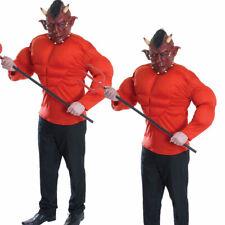 Devil Costume Padded Top Satan Lucifer Demon Mens Halloween Fancy Dress + Mask