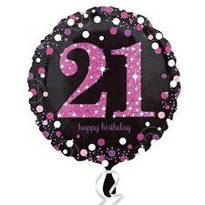 PINK Celebrazione Stagnola standard 21st Prismatico Palloncino Festa Di Compleanno Decorazioni